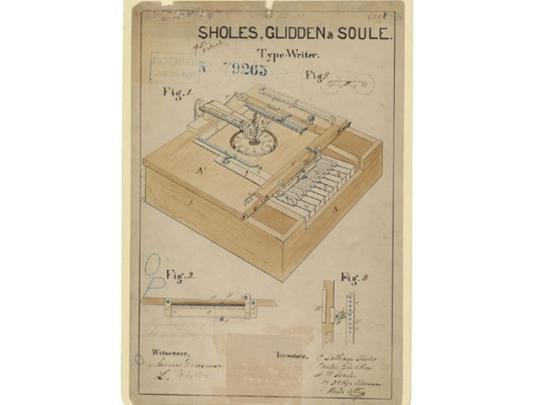 Чертеж первой печатной машинки